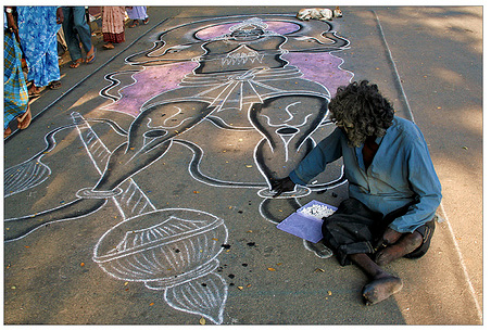 A chalk drawing of Hanuman outside the Mysore palace.