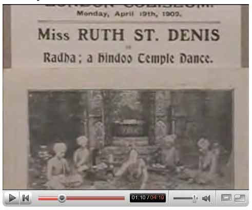 Ruth St. Denis documentary on YouTube.