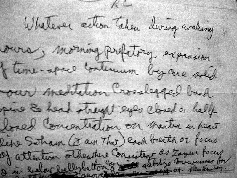 The same letter from Ginsberg, handwritten, describing his view on meditation, Nisargadatta is mentioned.