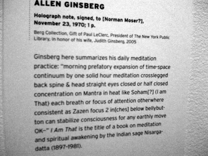 A letter from Ginsberg, who describes his view on meditation, Nisargadatta is mentioned.