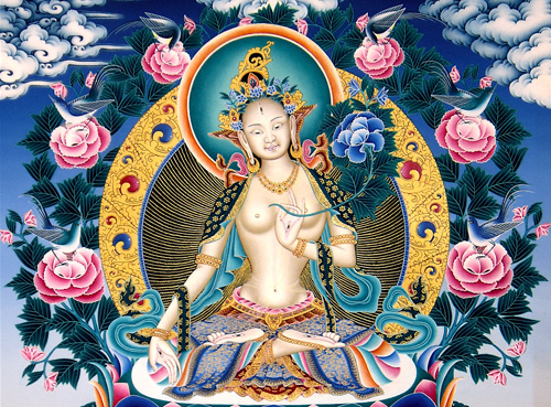 Contemporary Newar Art represented by Siddhartha Shah: White Tara acrylic.