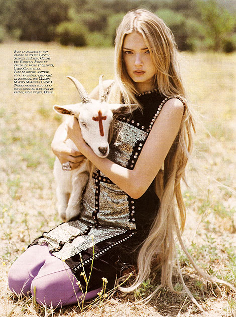 Cute baby devil goat in French Vogue.