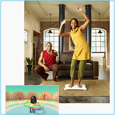 Nintendo Wii goes beyond yoga into hula hooping. Fun for the entire fucking family.
